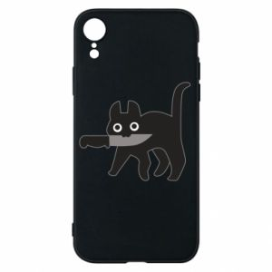 Phone case for iPhone XR Dangerous cat with a knife