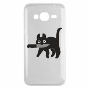 Phone case for Samsung J3 2016 Dangerous cat with a knife