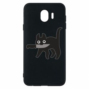 Phone case for Samsung J4 Dangerous cat with a knife