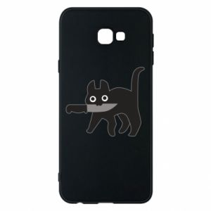 Phone case for Samsung J4 Plus 2018 Dangerous cat with a knife