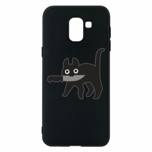 Phone case for Samsung J6 Dangerous cat with a knife