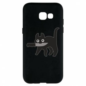 Phone case for Samsung A5 2017 Dangerous cat with a knife