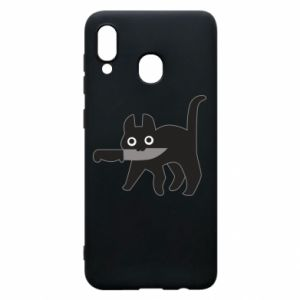 Phone case for Samsung A20 Dangerous cat with a knife