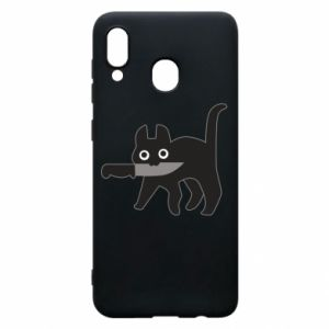 Phone case for Samsung A30 Dangerous cat with a knife