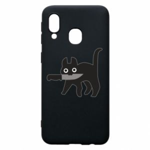 Phone case for Samsung A40 Dangerous cat with a knife