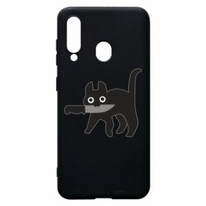 Phone case for Samsung A60 Dangerous cat with a knife