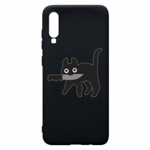 Phone case for Samsung A70 Dangerous cat with a knife