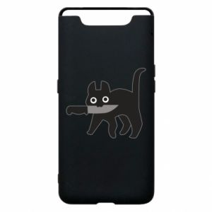 Phone case for Samsung A80 Dangerous cat with a knife