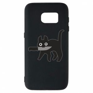 Phone case for Samsung S7 Dangerous cat with a knife