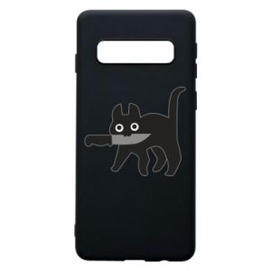 Phone case for Samsung S10 Dangerous cat with a knife