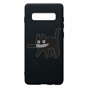 Phone case for Samsung S10+ Dangerous cat with a knife