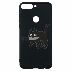 Phone case for Huawei Y7 Prime 2018 Dangerous cat with a knife