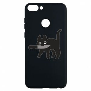 Phone case for Huawei P Smart Dangerous cat with a knife