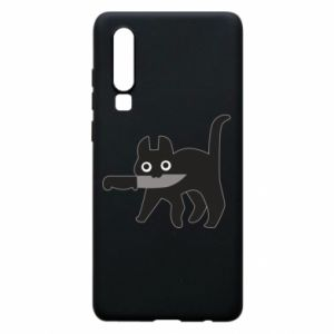 Phone case for Huawei P30 Dangerous cat with a knife