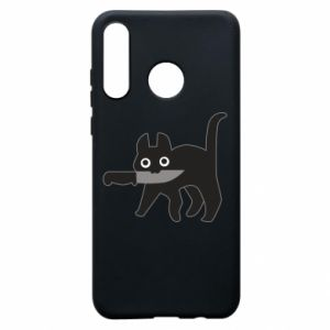Phone case for Huawei P30 Lite Dangerous cat with a knife