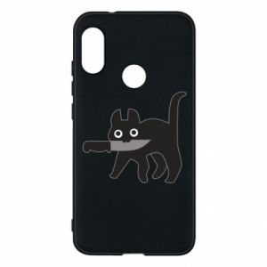 Phone case for Mi A2 Lite Dangerous cat with a knife