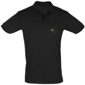 Men's Polo shirt Dangerous cat with a knife
