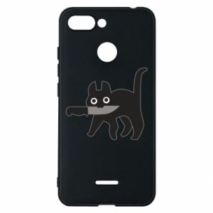 Phone case for Xiaomi Redmi 6 Dangerous cat with a knife