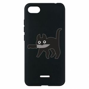 Phone case for Xiaomi Redmi 6A Dangerous cat with a knife