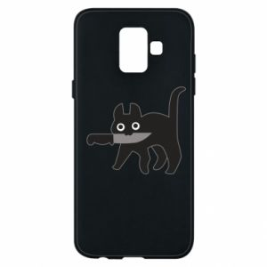 Phone case for Samsung A6 2018 Dangerous cat with a knife