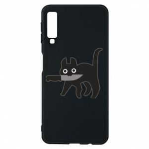Phone case for Samsung A7 2018 Dangerous cat with a knife