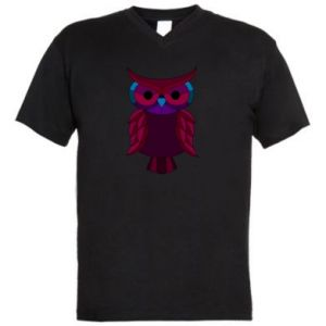 Men's V-neck t-shirt Dark owl - PrintSalon