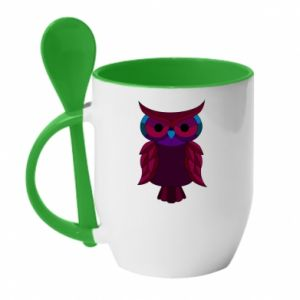 Mug with ceramic spoon Dark owl - PrintSalon