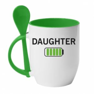 Mug with ceramic spoon Daughter charge - PrintSalon
