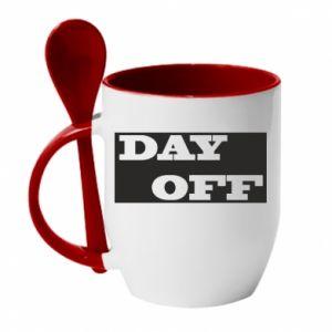 Kubek z ceramiczną łyżeczką Day off