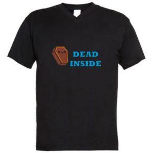 Męska koszulka V-neck Dead inside coffin