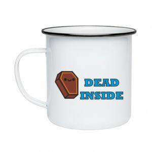 Enameled mug Dead inside coffin