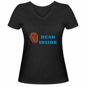Damska koszulka V-neck Dead inside coffin