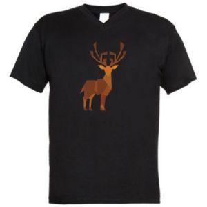 Men's V-neck t-shirt Deer abstraction - PrintSalon
