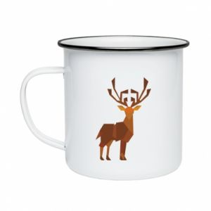 Enameled mug Deer abstraction - PrintSalon