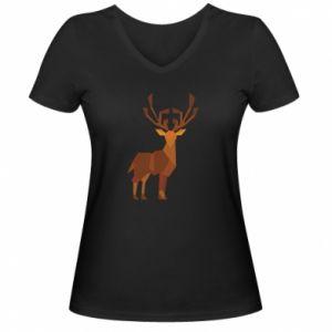 Women's V-neck t-shirt Deer abstraction - PrintSalon