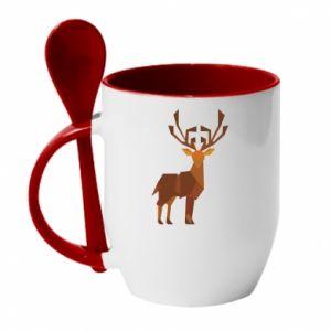 Mug with ceramic spoon Deer abstraction - PrintSalon