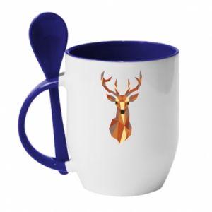 Kubek z ceramiczną łyżeczką Deer geometry in color