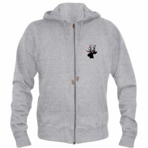 Men's zip up hoodie Deer in hearts - PrintSalon