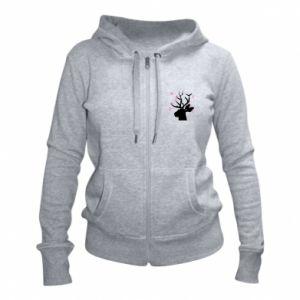 Women's zip up hoodies Deer in hearts - PrintSalon