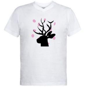 Męska koszulka V-neck Deer in hearts