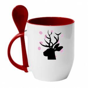 Mug with ceramic spoon Deer in hearts - PrintSalon