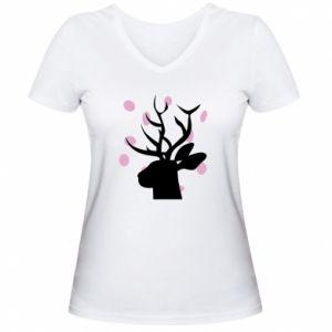 Women's V-neck t-shirt Deer in hearts - PrintSalon
