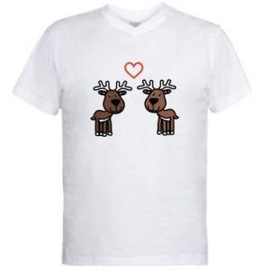 Męska koszulka V-neck Jeleń w miłości