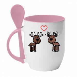 Kubek z ceramiczną łyżeczką Jeleń w miłości