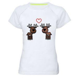 Women's sports t-shirt Deer in love