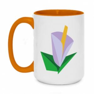 Two-toned mug 450ml Delicate lilac flower abstraction