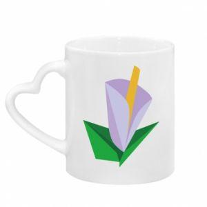 Kubek z uchwytem w kształcie serca Delicate lilac flower abstraction