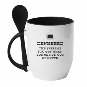 Kubek z ceramiczną łyżeczką Depresso