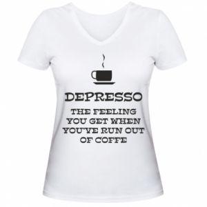 Damska koszulka V-neck Depresso