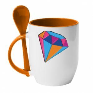 Mug with ceramic spoon Diamond